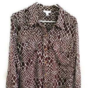 CHARTER CLUB Womens XL Animal Print Brown Blouse